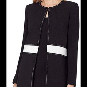 Tahari 2 piece suit dress coat black white stitch